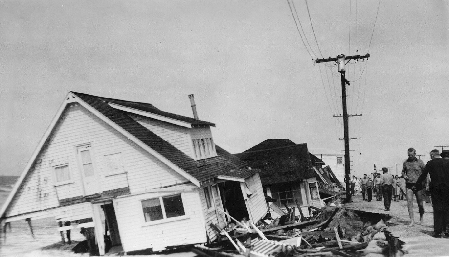 Damage from the 1939 tropical storm along Orange County's Sunset Beach
