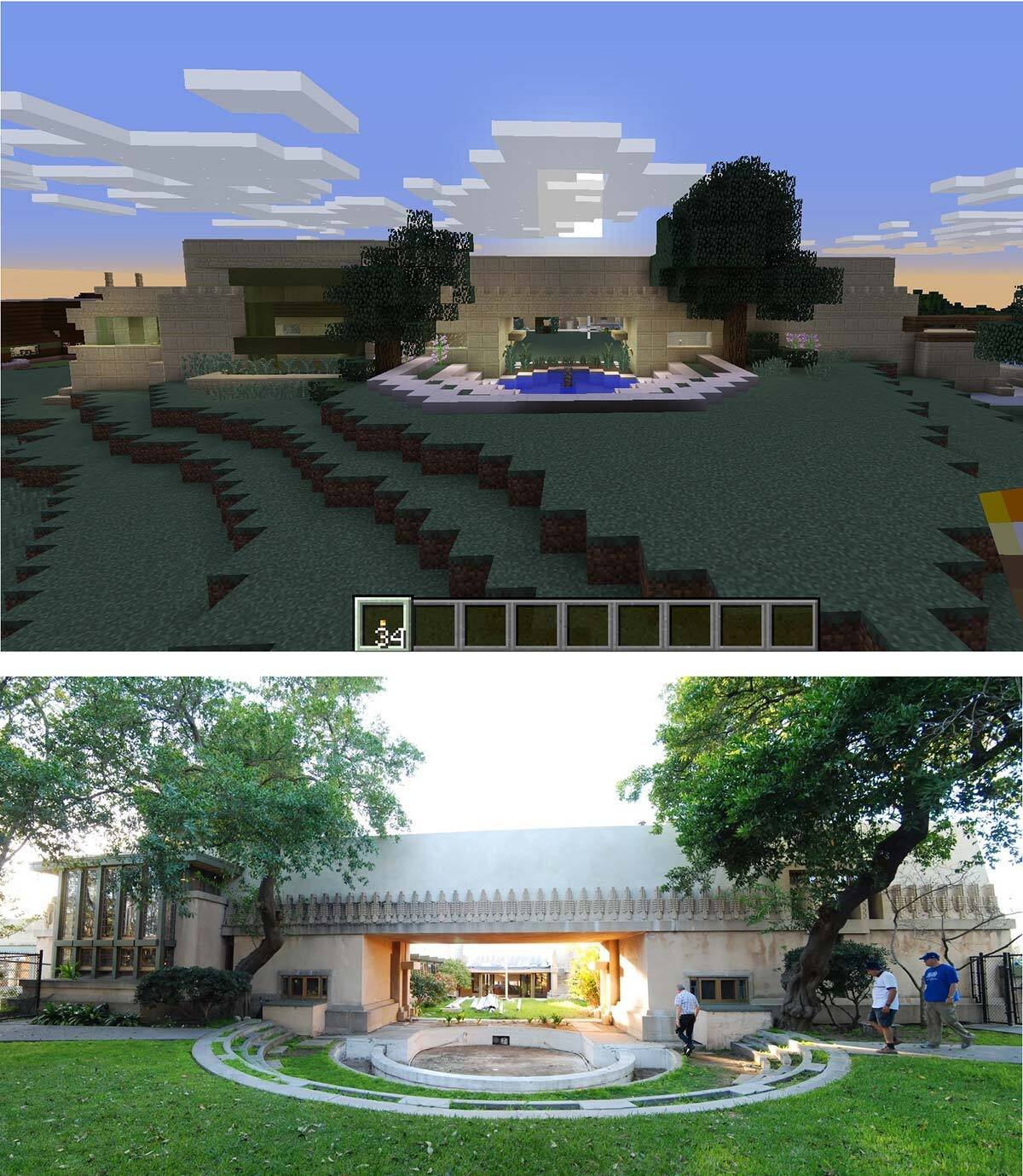 A side-by-side of the original and the Wrightcraft recreation of Frank Lloyd Wright's Hollyhock House's back pool | Kate Hedin FLW AB s9