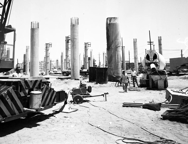 Workers on the Santa Monica Freeway construction site in 1960. Courtesy of the Los Angeles Examiner Collection, USC Libraries.
