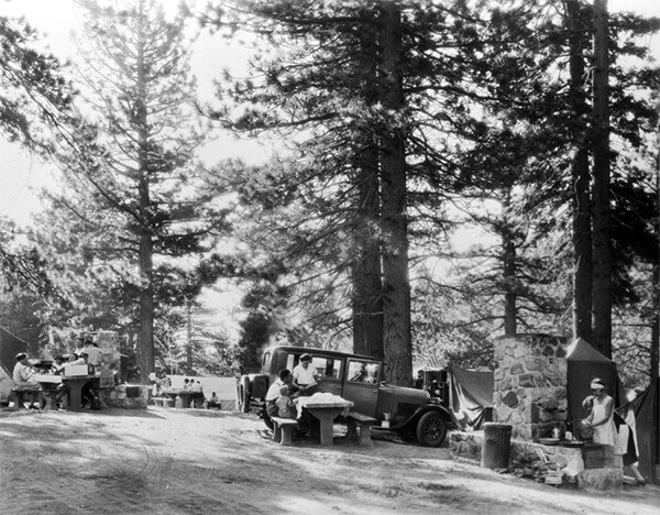 Families picnicking at camp sites at Big Pines Recreational Camp, 1928 | Digitally reproduced by the USC Digital Library; From the California Historical Society Collection at the University of Southern California