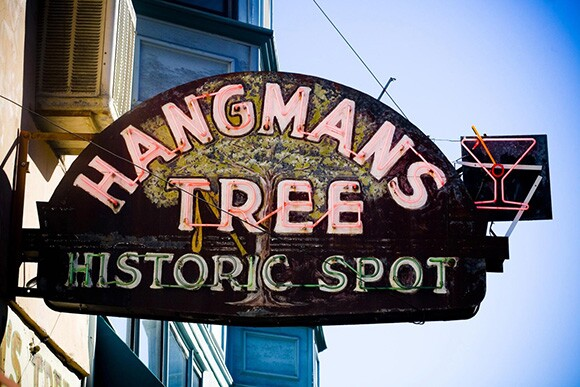 Neon sign for the Hangmans Tree Historic Spot tavern, Placerville, El Dorado County, 2006. | Photograph by Thomas Hawk.