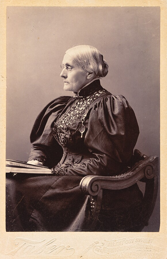 Taber Photographic Co., <em>Portrait of Susan B. Anthony</em>, 1895, gelatin silver print. The Huntington Library, Art Collections, and Botanical Gardens.
