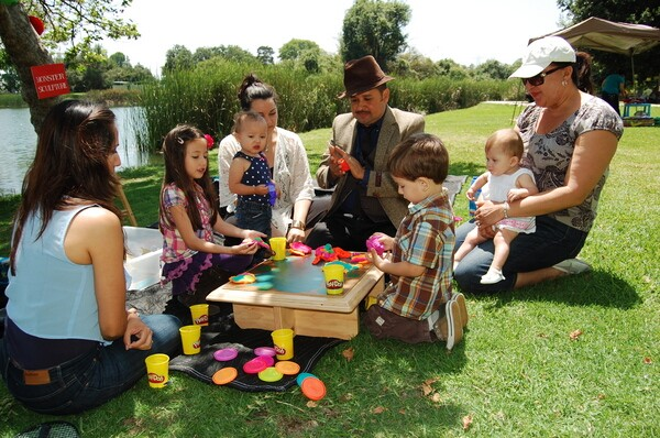 Adrian Rivas dressed up as the Mexican artist Benjamin Dominguez, leading a monster sculpting workshop at ''Birthday Party for Our Books'' at Legg Lake in South El Monte | Photo: Courtesy of SEMAP