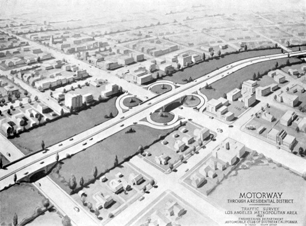 Artist's rendering of a motorway through a residential district. From the Automobile Club of Southern California's Traffic Survey, 1937. Courtesy of the Metro Transportation Library and Archive.