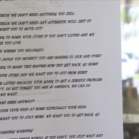 A Racist Letter Taped to the window of a Japanese Cookware Shop in Torrance on June 15, 2020 | Courtesty NBC4LA