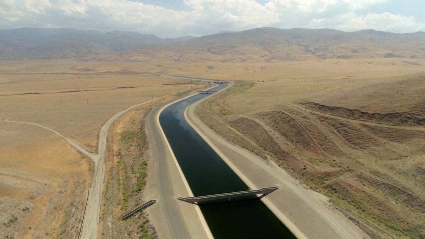 "Aerial view of California Aqueduct. | Still from ""Tending Nature"" episode ""Managing Groundwater with the Paiute"""