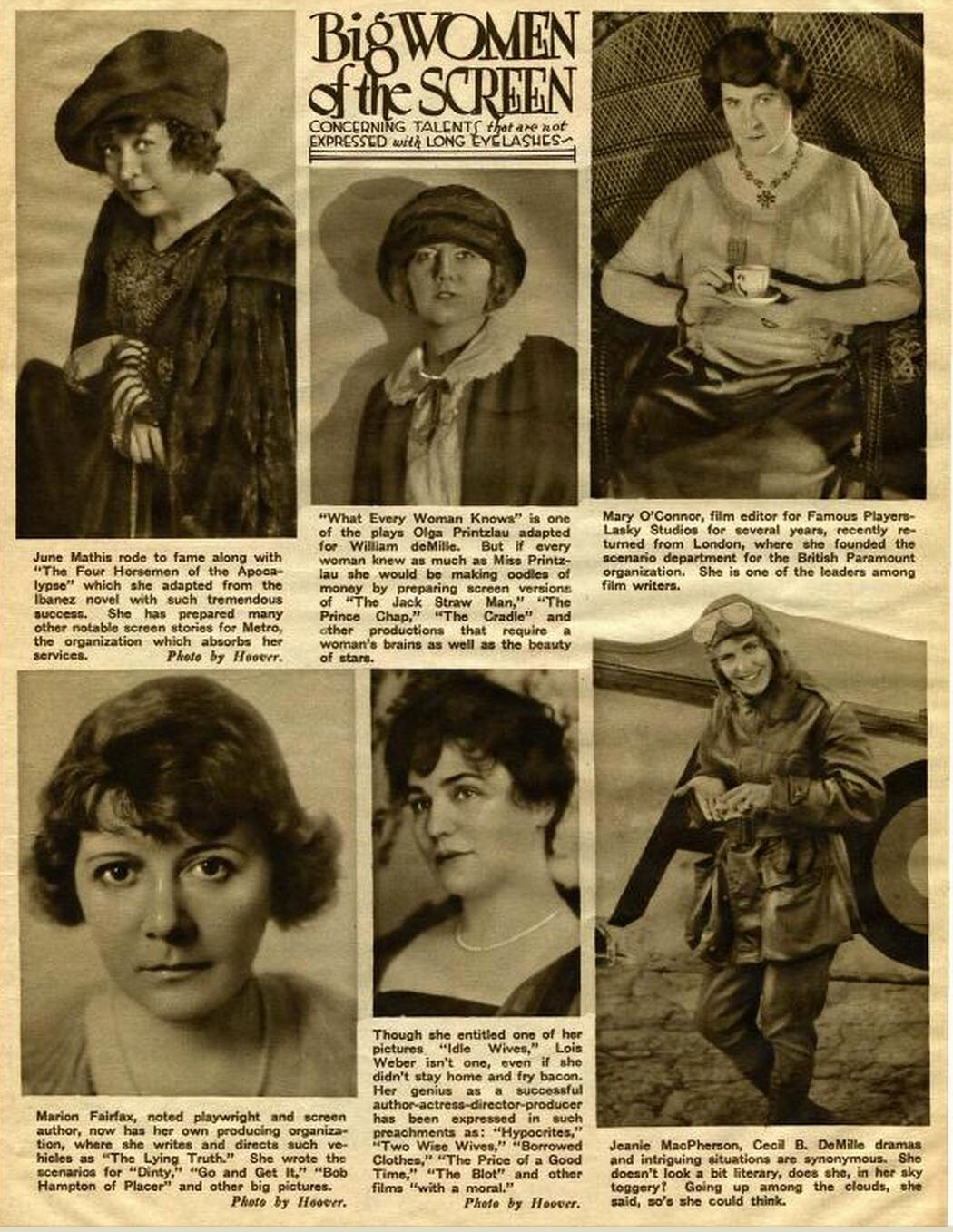 """Big Women of the Screen: Concerning Talents That Are Not Expressed With Long Eyelashes"" from the Jan. 1922 issue of Screenland"
