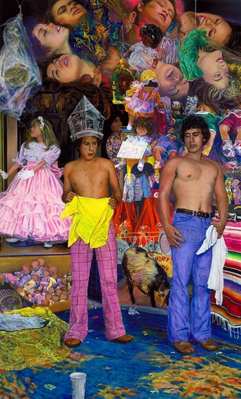 'Two Vendors' (1989) by John Valadez. Smithsonian American Art Museum Museum purchase through the Smithsonian Institution Collections Acquisition Program and the Luisita L. and Franz H. Denghausen Endowment © 1989, John M. Valadez