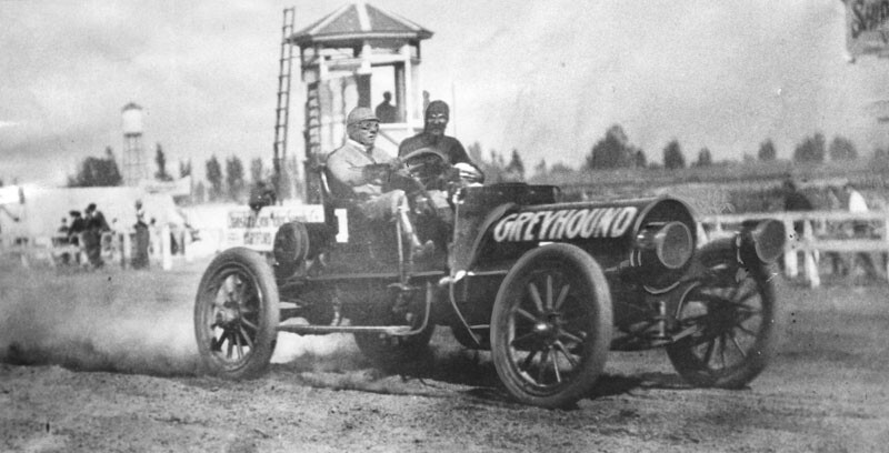 "Hamlin behind the wheel of his six-cylinder Franklin Model H nicknamed, the ""Greyhound""."