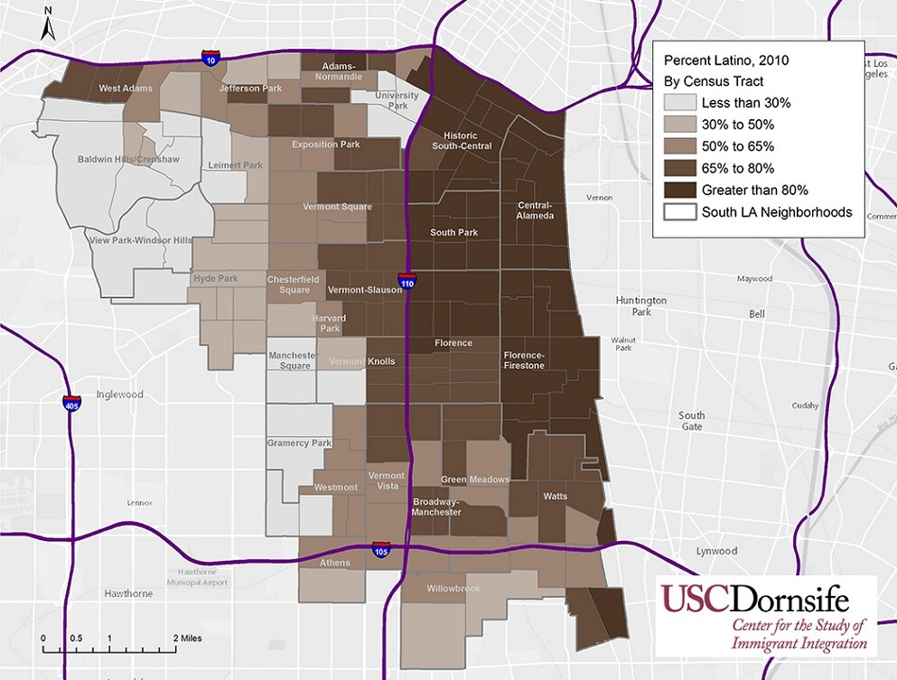 Percent Latino, South Los Angeles, 2010