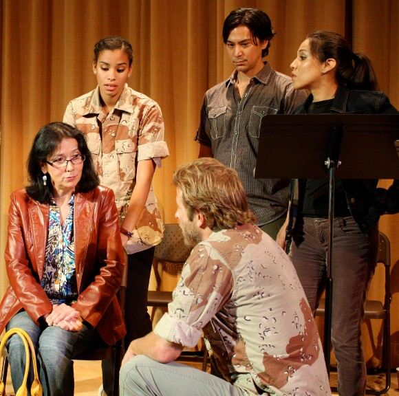 "Back row: Clarissa Thibeaux, Kalani Queypo and Tonantzin Carmelo. Sitting: Diane Lxeis Benson. Kneeling: Christopher Sweeney. ""Stand-Off at Highway 37."" | Photo: Jean Bruce Scott."