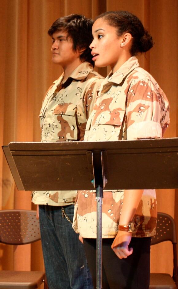 "Taro Keenanwaye McArthur and Clarissa Thibeaux, ""Stand-Off at Highway 37."" | Photo: Jean Bruce Scott."