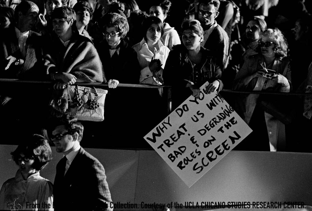 CSRC_LaRaza_B12F9C1_STAFF_007 Demonstration against the lack of Latinos in the movie industry and negative depictions in film | La Raza photograph collection. Courtesy of UCLA Chicano Studies Research Center