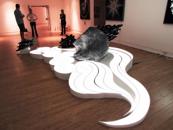 "Site specific installation by Elizabeth Turk for ""Sentient Forms"" at Laguna Art Museum - -in progress"