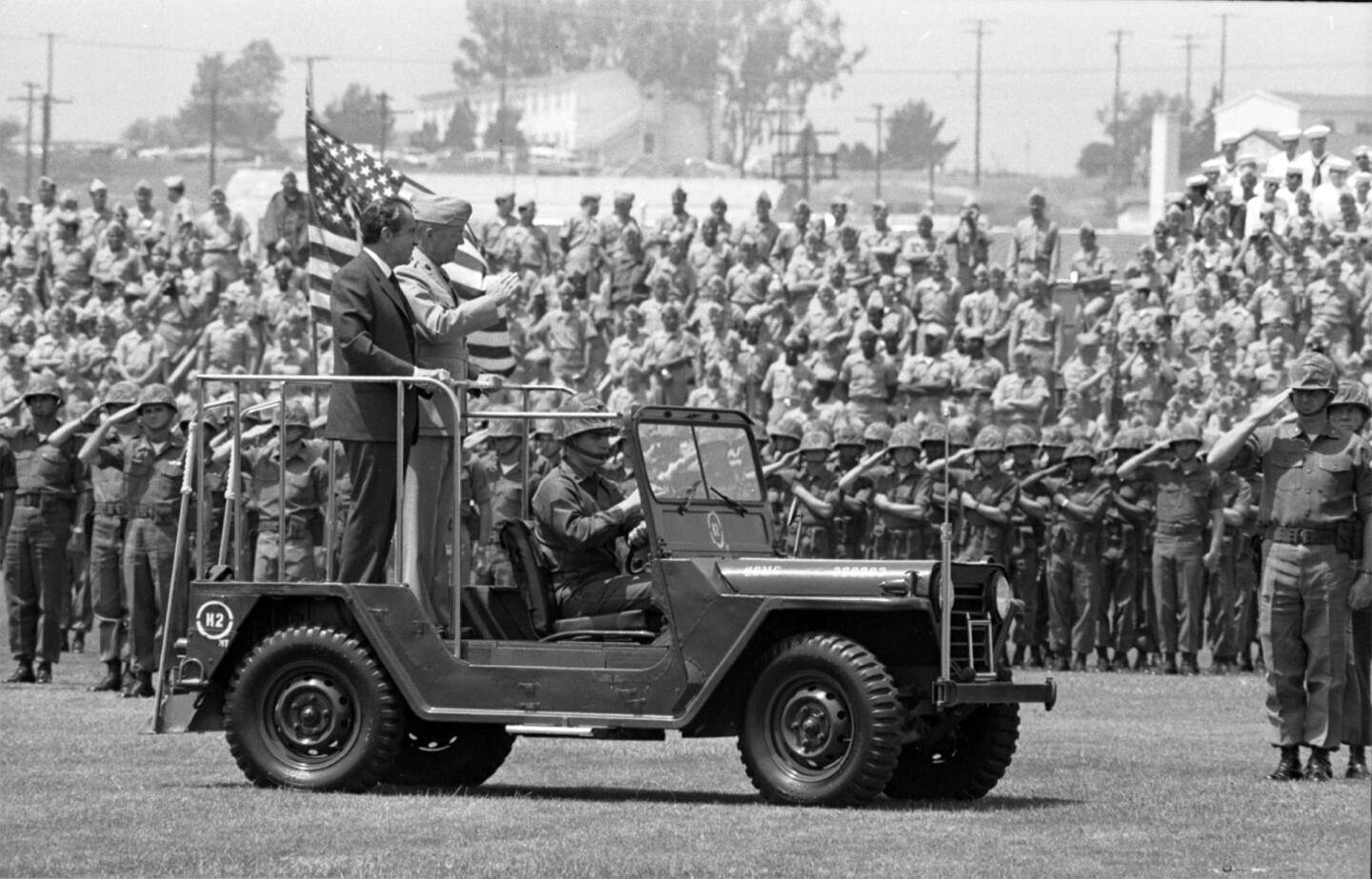 President Nixon reviews the troops at Camp Pendleton, 1971