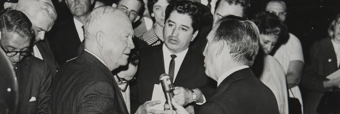 Rubén Salazar with former President Eisenhower, San Bernardino, CA, 1961| Rubén Salazar (1928-1970) Papers, USC Libraries Special Collections