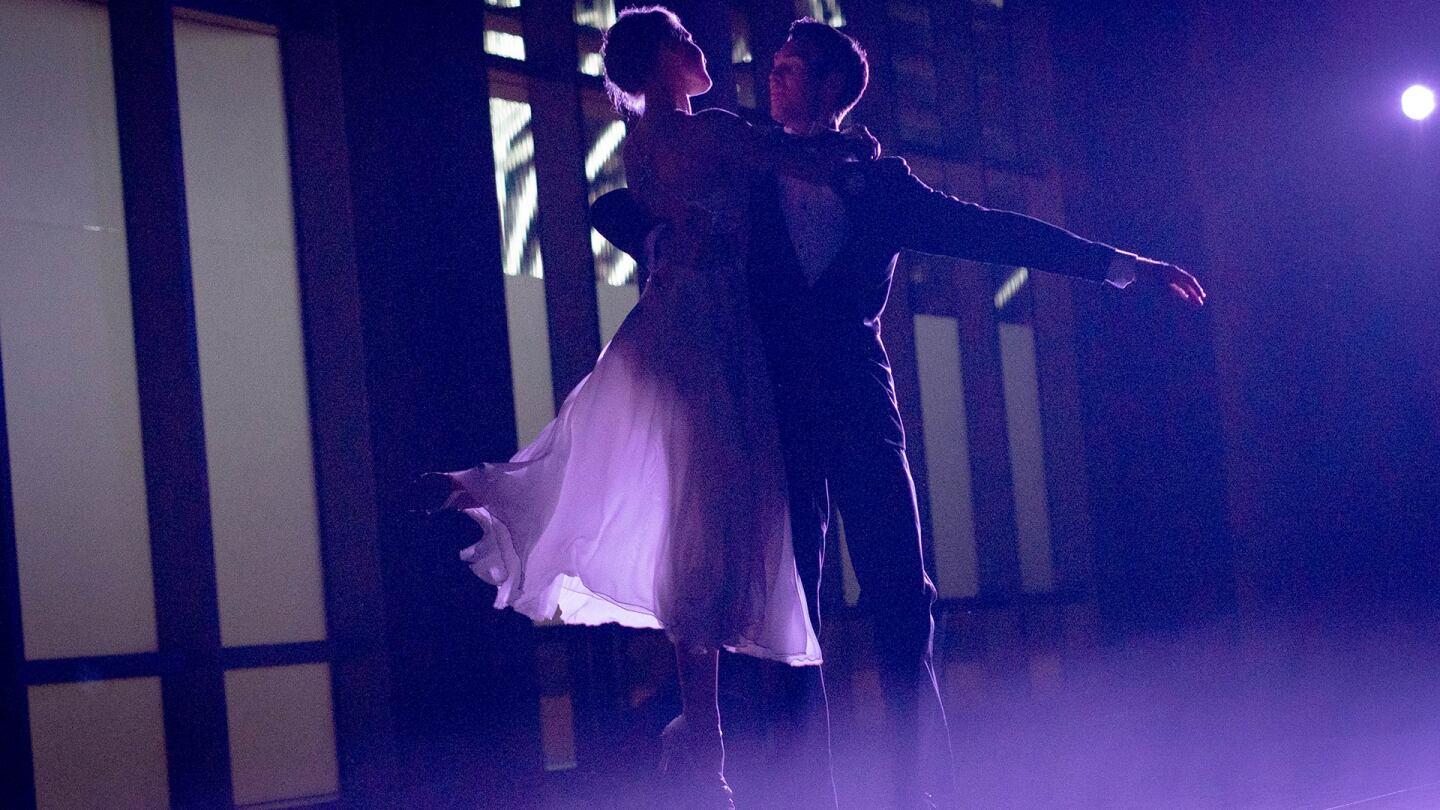 American Contemporary Ballet dancer Josh Brown lifts up and embraces dancer Sarah Bukowski in a dance. | Pierre Michel-Estival