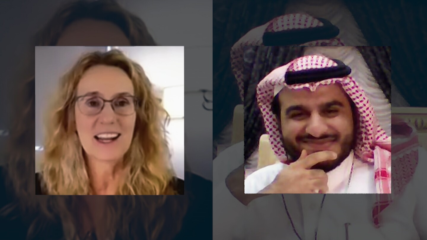 """Cary Funk and Faris Bukhamsin on a video call for """"Infodemic."""""""