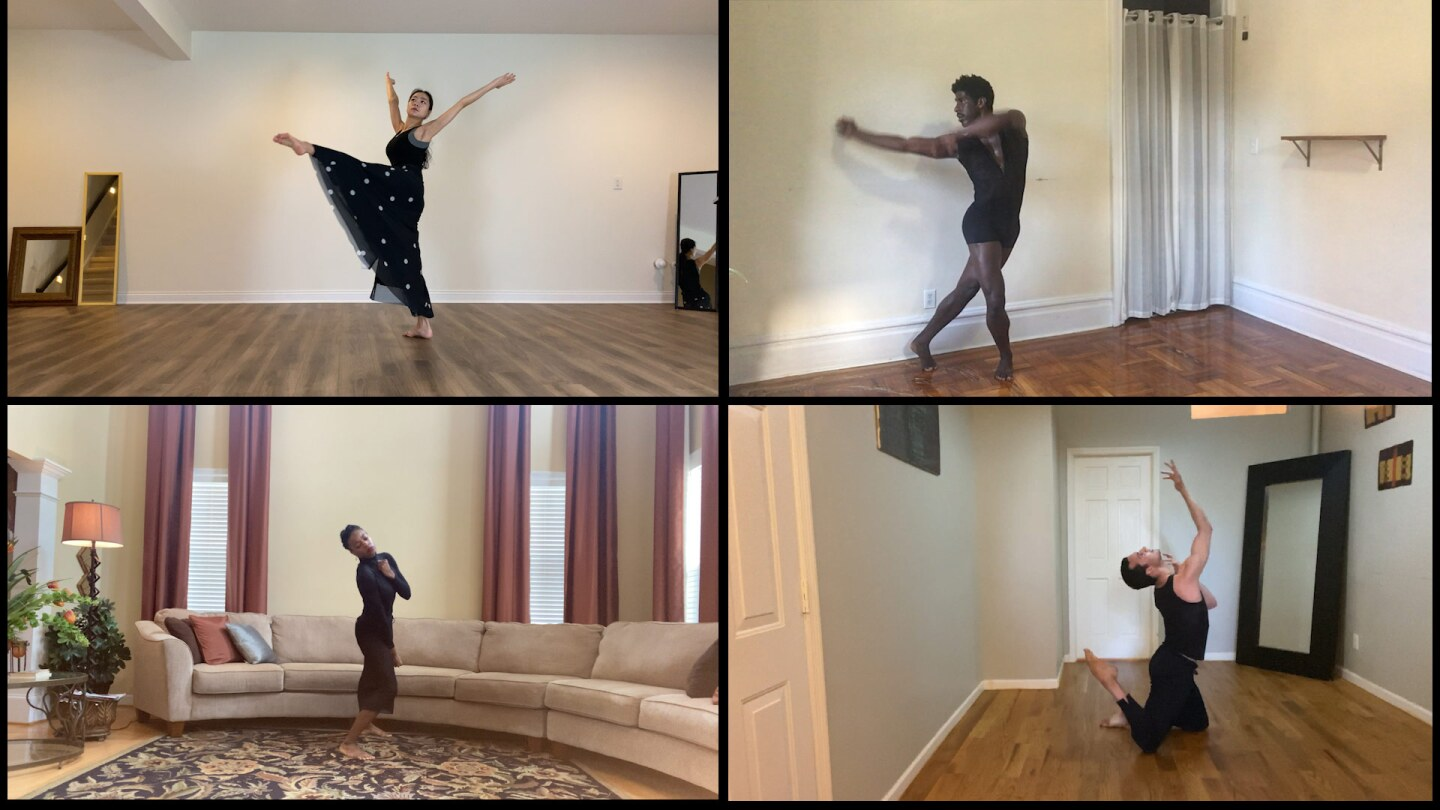 Pictured clockwise (from upper left): Xin Ying, Lloyd Knight, Lorenzo Pagano, Leslie Andrea Williams.   Courtesy of Martha Graham Resources, a division of the Martha Graham Center of Contemporary Dance, Inc.