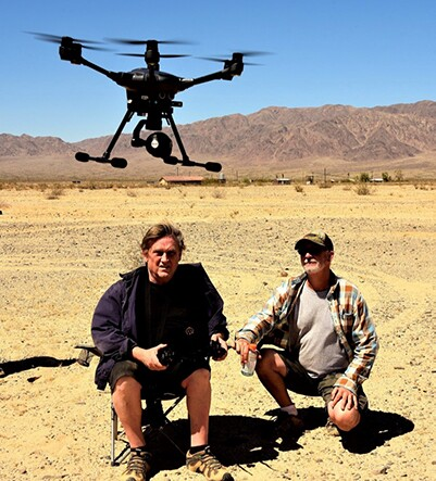 Joe Barrett and Ken Sitz with their drone | Rachelle Skidmore
