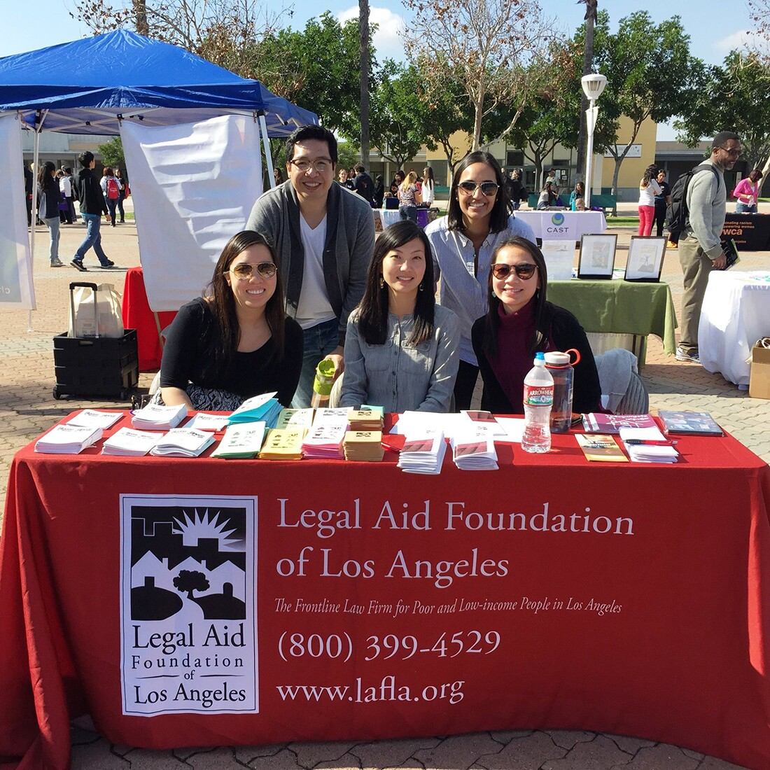 LAFLA tabling at the Youth Exploitation Safety Symposium (Y.E.S.S.) hosted by the Long Beach Trafficking Task Force and Long Beach Unified School District at Cabrillo High School in 2015. | Legal Aid Foundation of Los Angeles