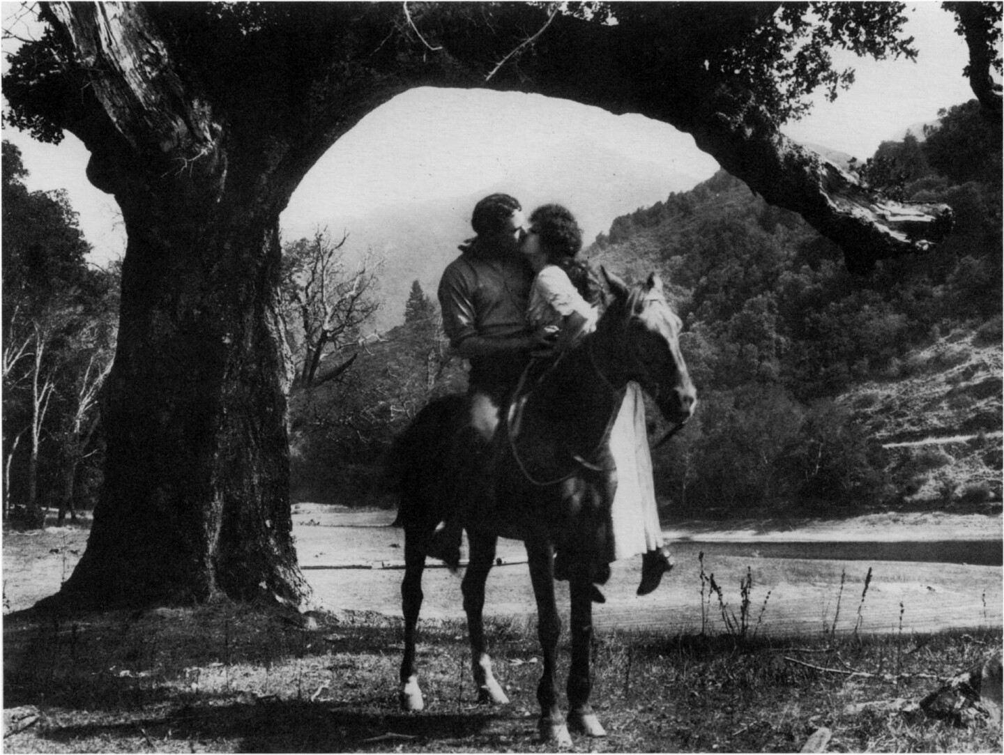 Lake Alpine area of Marin County, location for final scene of a California Motion Picture Corporation western (Mt .  Tamalpais  in background). Geoffrey Bell Collection, courtesy Letty Etzler