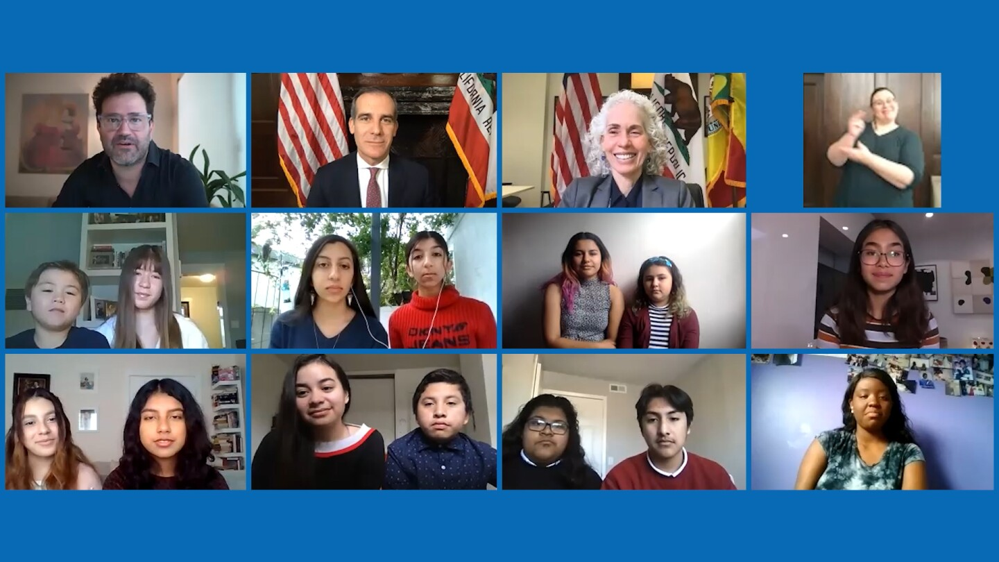 "Still from ""KCET Presents: Mayor Garcetti's Check-In: Young Angelenos."""