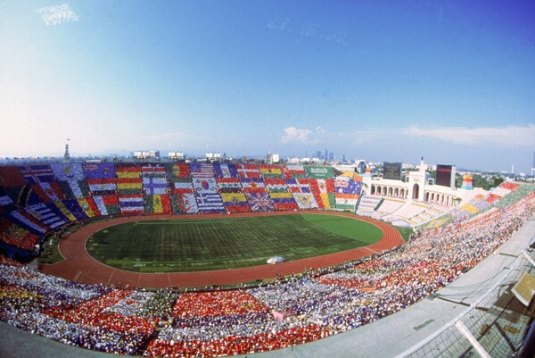 Opening ceremony at the Los Angeles Memorial Coliseum. Courtesy of the LA84 Foundation.