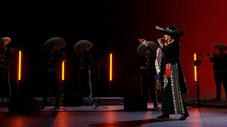 "Aída Cuevas performing ""Los Laureles"" with Mariachi Garibaldi de Jaime Cuéllar | Still from ""A Tribute to Linda Ronstadt at the Soraya"" from ""Southland Sessions"""