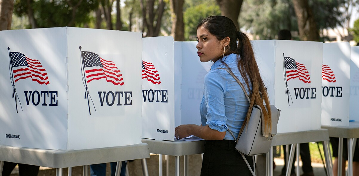 Destiny Martinez, 18, votes for the first time at the Power California early voting event and festival for students of the Los Angeles Unified School District on Wednesday, October 24, 2018 in Norwalk. | Mindy Schauer/Digital First Media/OC Register