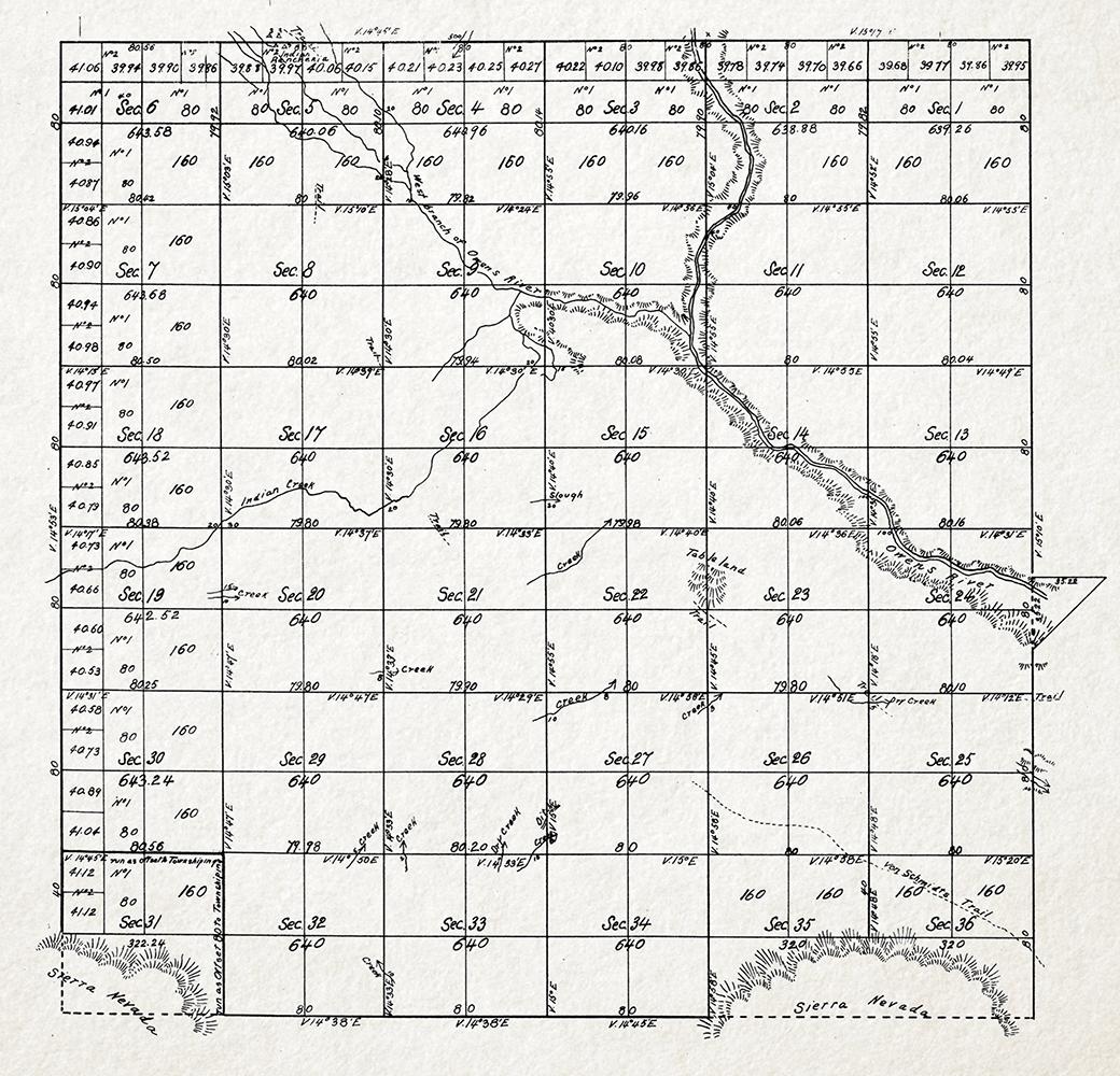 "Land Survey map depicting ""Indian ditches,"" W. Von Schmidt (1855)"