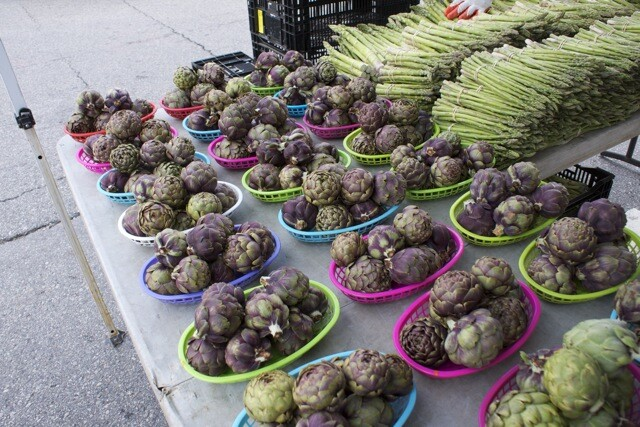 Artichokes and asparagus from Zuckerman's Farm