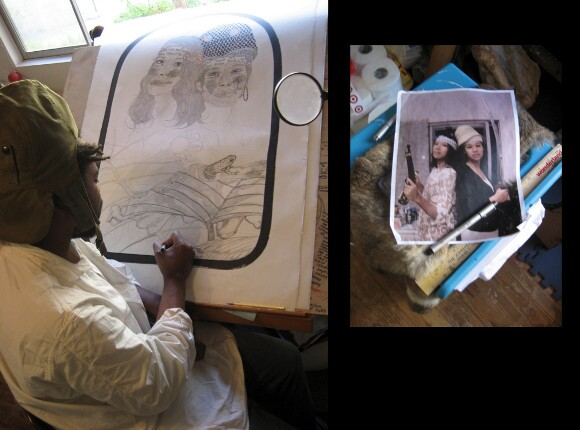 "The ""Guyana Girls"" in progress: Frohawk Two Feathers in studio, sketching from an image of sitters, 2011. 