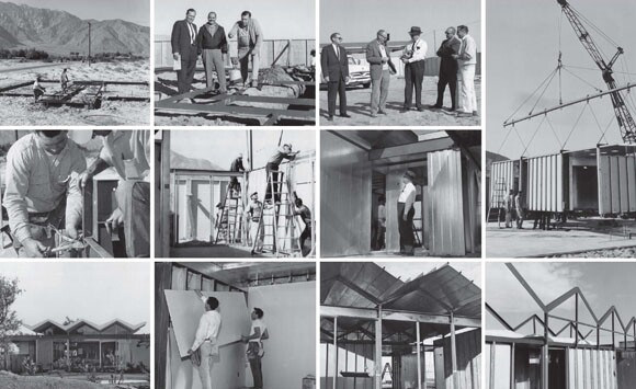 Photos of the assembly of the Wexler & Harrison Steel Houses. Source: Don Wexler, architect.