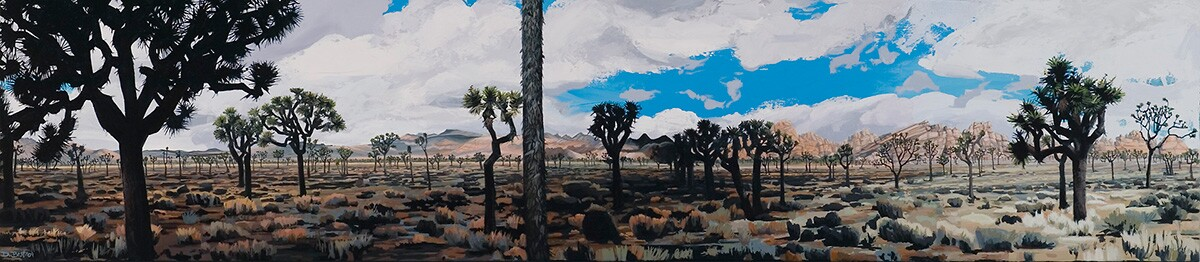 Diane Best's 2009 painting of a Joshua tree woodland in Joshua Tree National Park. | Courtesy of the artist.