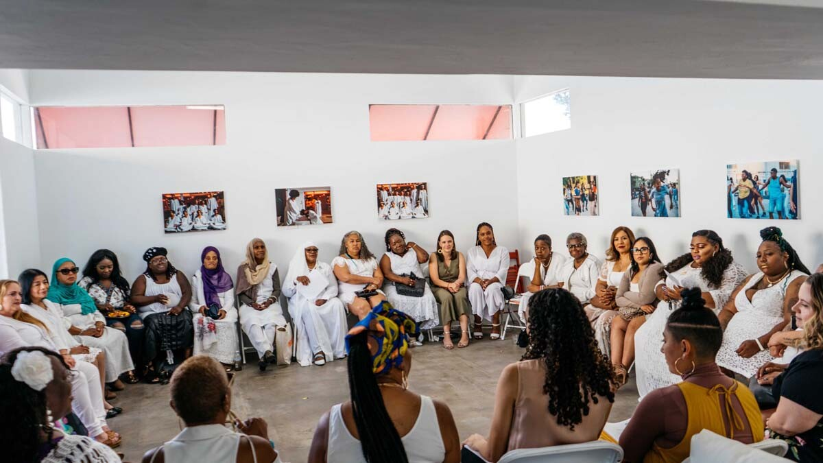 Graduation for the Essie Justice group. Women gather at the Crenshaw Dairy Mart space   Courtesy of Crenshaw Dairy Mart