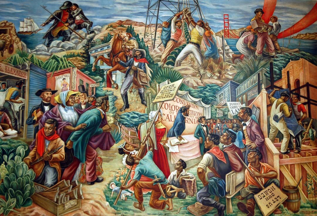 """A mural at the Golden State Mutual called """"The Negro in California History - Settlement and Development"""" (Hale Woodruff, 1949)."""