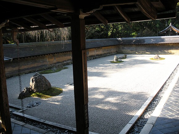 Dry landscape garden at the Ryoan-ji in Kyoto, Japan.