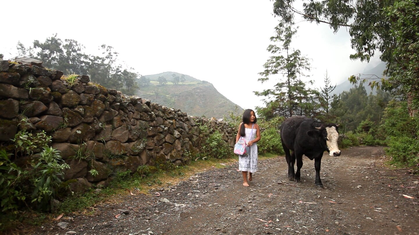"Still from ""A Calf Born in Winter:"" A young girl and a cow walk up a dirt road."