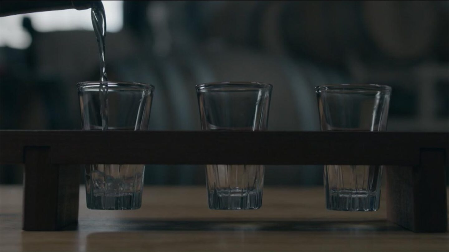 "Three Sequoia sake glasses | Still from ""The Migrant Kitchen"" Sequoia Sake"
