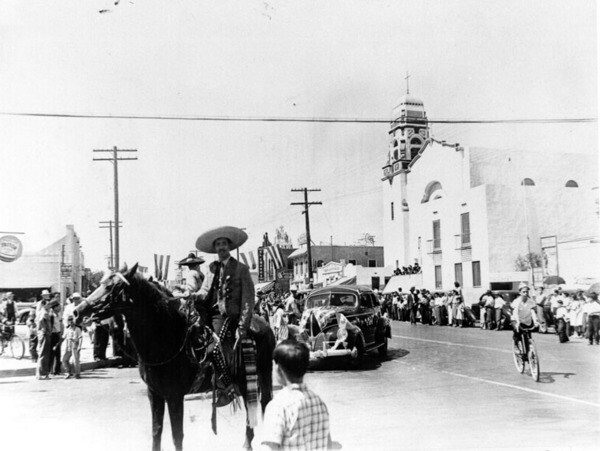Antonio, on horseback and dressed as a charro, in a 16th of September parade commemorating Mexico's independence from Spain at Brooklyn Avenue and Ford Boulevard in East Los Angeles | Courtesy of the Los Angeles Public Library