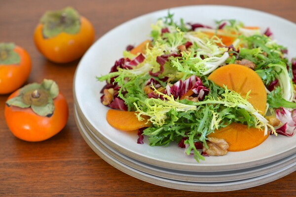 Frisée, Radicchio and Persimmon Salad with Dates and Walnuts