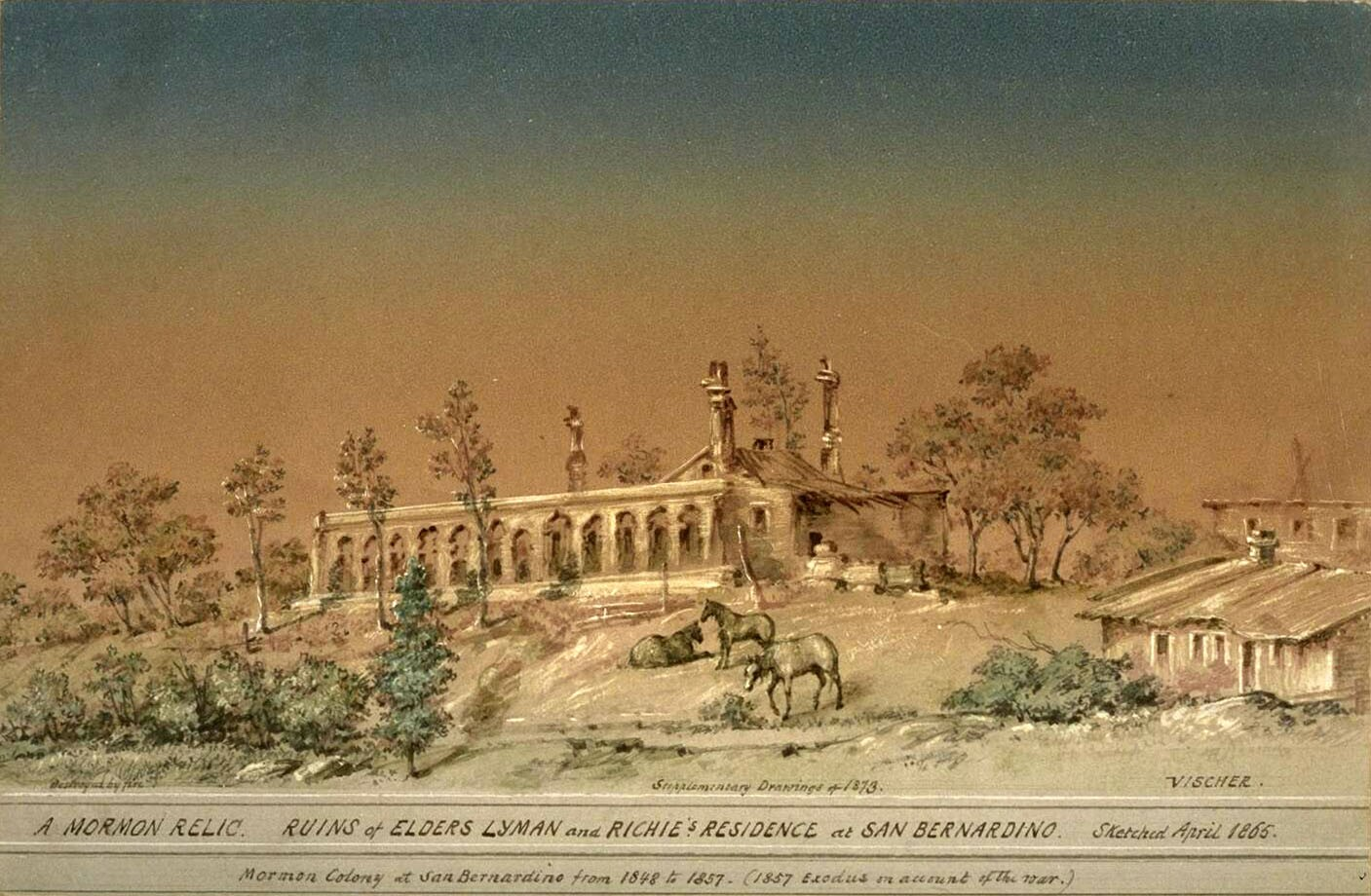 An 1873 drawing by Edward Vischer of what then remained of Lyman's and Rich's residences. Courtesy of the Mission Era: California Under Spain and Mexico and Reminiscences collection, Bancroft Library, UC Berkeley.