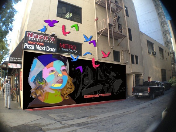 """voLAr"" Man One's 2014 mural campaign #FACESLA at 8th and Flower in downtown Los Angeles. It will be painted in Summer 2014"