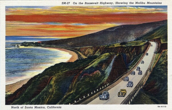 1938 postcard of the Roosevelt Highway, north of Santa Monica. Courtesy of the Werner von Boltenstern Postcard Collection, William H. Hannon Library, Loyola Marymount University.