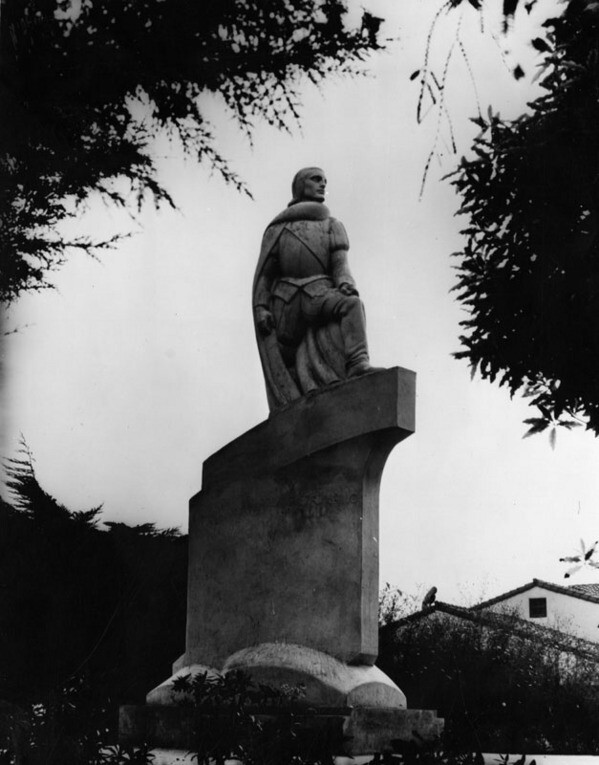 This statue at San Pedro's Cabrillo Beach commemorates the admiral of the expedition that named San Pedro Bay the 'Bay of the Smoke.' Courtesy of the Photo Collection, Los Angeles Public Library.