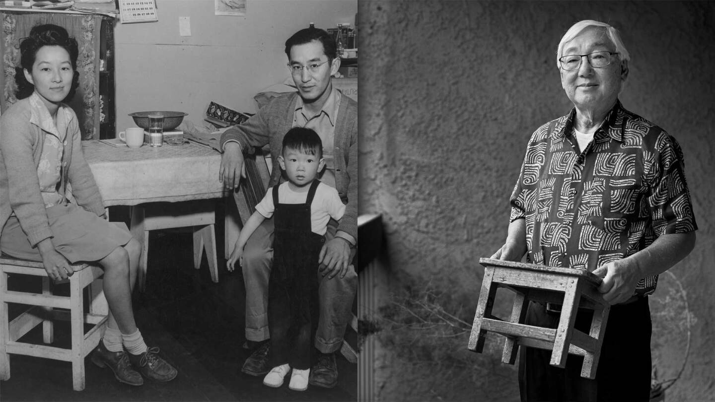 A before photo of the Tsurutani family at Manzanar by Ansel Adams and an after photo of Bruce, now 76, by Paul Kitakagi Jr.