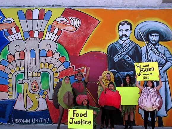 East Los Angeles Renaissance Academy High School Students Lilybeth Hernandez, Omar Vargas, Vanessa Zuniga, Andy Alvarez, Florisel Rojas, Shirley Ramirez, and Martha Mejia bringing food justice to the streets of East L.A.