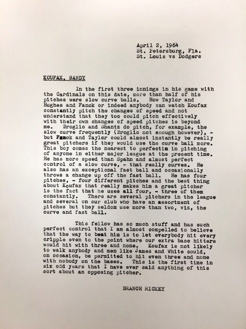 Branch Rickey scouting notes on Sandy Koufax