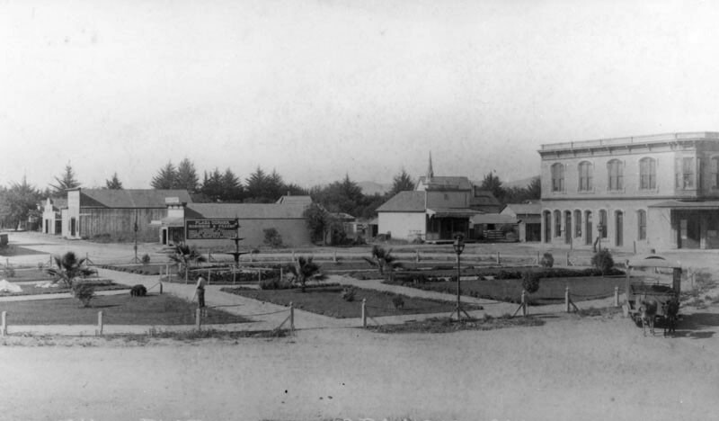 The plaza in the City of Orange in 1889, the year Orange County split from Los Angeles County. Courtesy of the Orange Public Library.